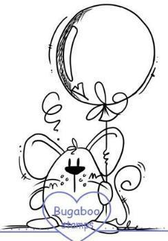 Digi stamps, Mouse big balloon,Bugaboo Stamps,
