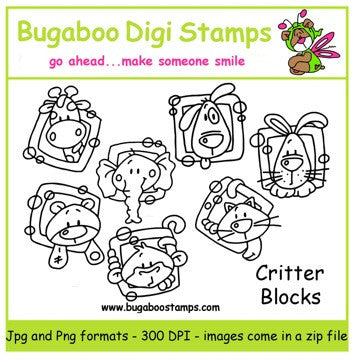 Digi Sets,Mini Set  - Critter Blocks,Bugaboo Stamps,