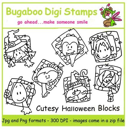 Digi Singles,Digi Sets,Mini Set  Cutesy Halloween Blocks,Bugaboo Stamps,
