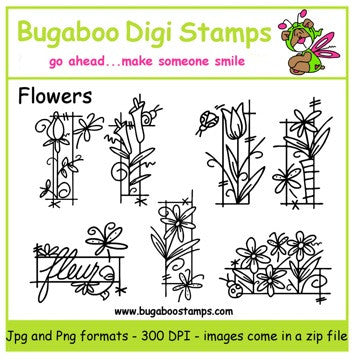 Digi Sets,Digi Singles,Mini Set  - Flowers,Bugaboo Stamps,