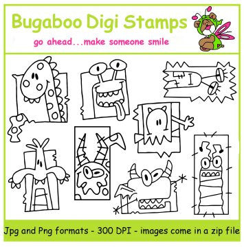 Digi Singles,Digi Sets,Mini Set  - Monster blocks,Bugaboo Stamps,