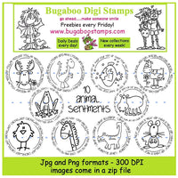 Word art/ Sentiments,Digi Sets,Digi Singles,Mini Set animal sentiments,Bugaboo Stamps,