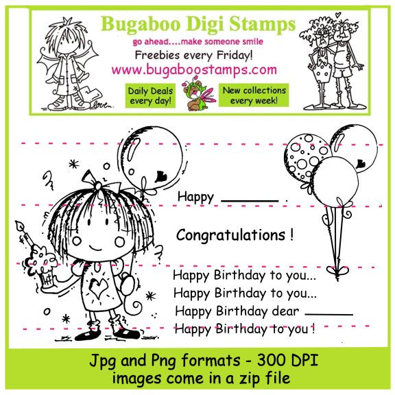 Digi stamps,Digi Stamp sets,Birthday girl,Bugaboo Stamps,