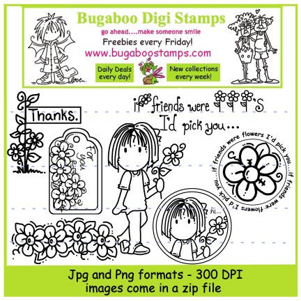 Digi Singles,Digi Sets,Mini set - Izzy flowers,Bugaboo Stamps,