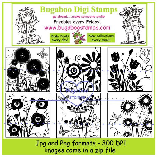 Digi Sets,Digi Singles,Mini set - flower block sillhouettes,Bugaboo Stamps,