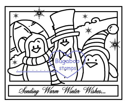 Digi stamps,Make it Snappy Penguin Trio,Bugaboo Stamps,