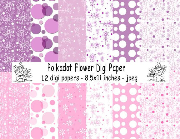 Digi Papers,Digi Singles, Digi Papers - polkadot flowers,Bugaboo Stamps,