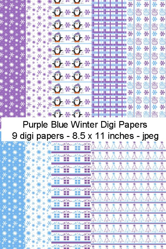 Digi Papers,Digi Papers - Purple Blue Winter,Bugaboo Stamps,