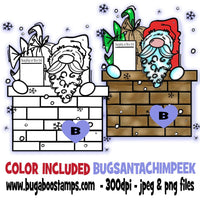 Cute Santa Chimney Peeker Digi Stamp  Images, Digi stamps, clip art, coloring pages and illustrations from Bugaboo Stamps