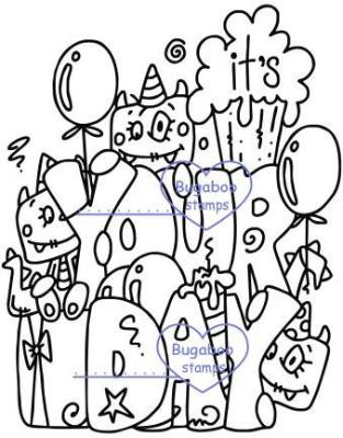 Digi stamps,monster birthday,Bugaboo Stamps,