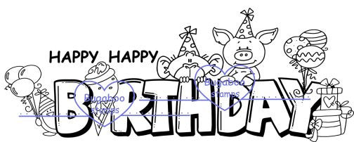 digi stamp, Birthday critters sign,Bugaboo Stamps,
