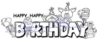 digi stamp,Birthday critters sign,Bugaboo Stamps,