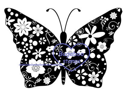 Digi Singles,Silhouette - butterfly,Bugaboo Stamps,