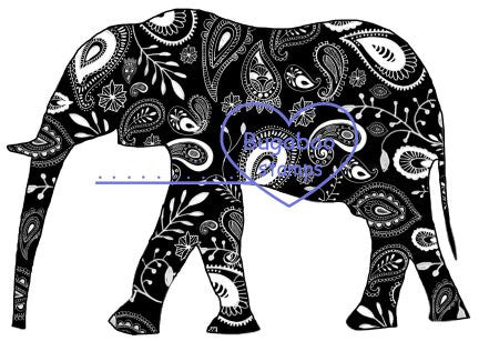 Digi Singles,Silhouette - elephant paisley,Bugaboo Stamps,