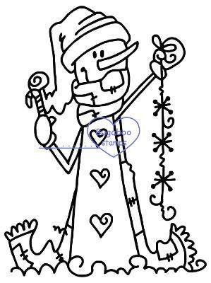 Snowman Snowflakes Digi Stamp Image Images, Digi stamps, clip art, coloring pages and illustrations from Bugaboo Stamps