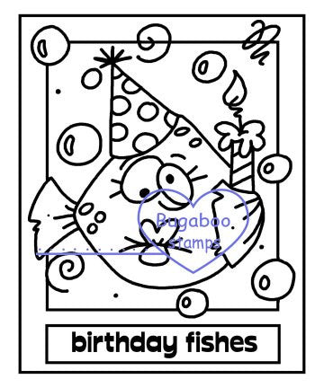 Digi Singles,Make it Snappy birthday fishes,Bugaboo Stamps,
