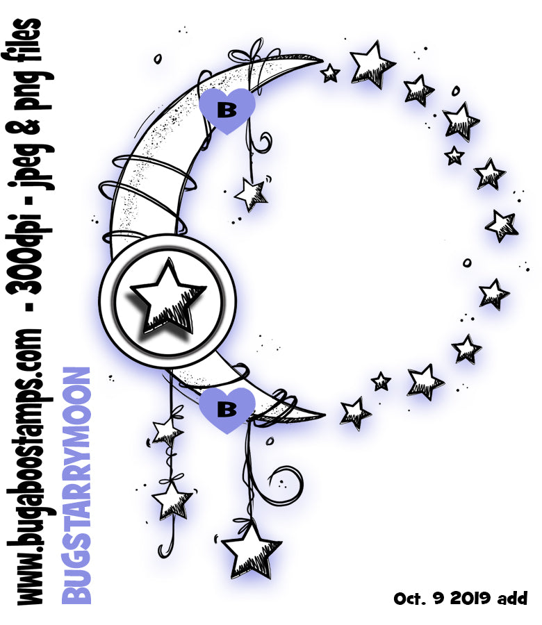 Starry Moon images, clipart and illustrations from Bugaboo Digi Stamps