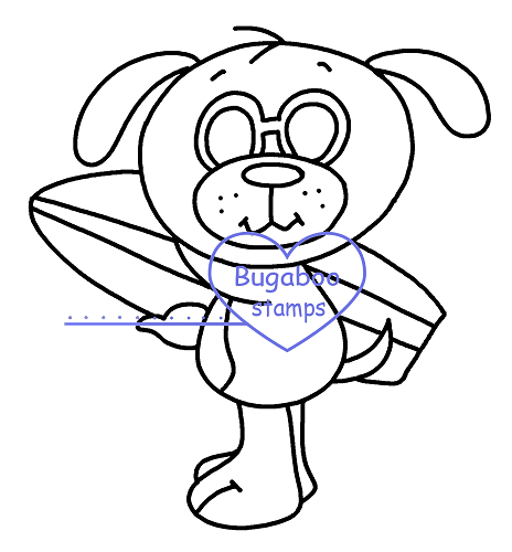 Summer dog surf   Digi stamps, Images, clip art, coloring pages and illustrations from Bugaboo Stamps