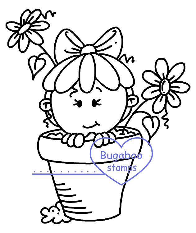 Digi Singles,Summertime Peekers - Flower pot,Bugaboo Stamps,