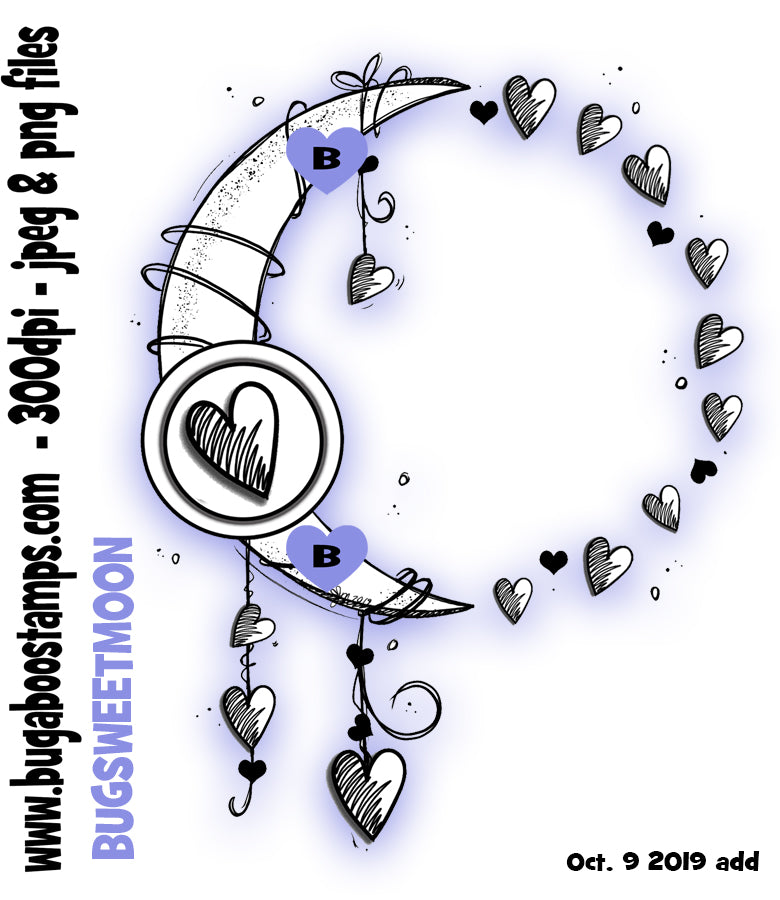 Sweetheart Moon images, clipart and illustrations from Bugaboo Digi Stamps