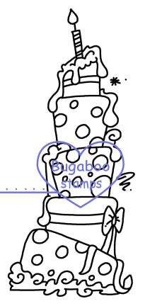 Digi Singles,tall birthday cake,Bugaboo Stamps,