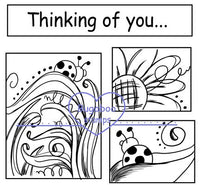 Digi stamps, 3 square floral thinking of you,Bugaboo Stamps,