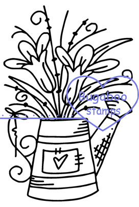Tulip flower water can Digi stamps, Images, clip art, coloring pages and illustrations. www.bugaboostamps.com