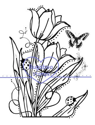 Tulip and Bugs Digi Stamps
