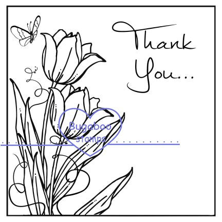 Digi stamps,clipart,Thank you Tulip block,Bugaboo Stamps,