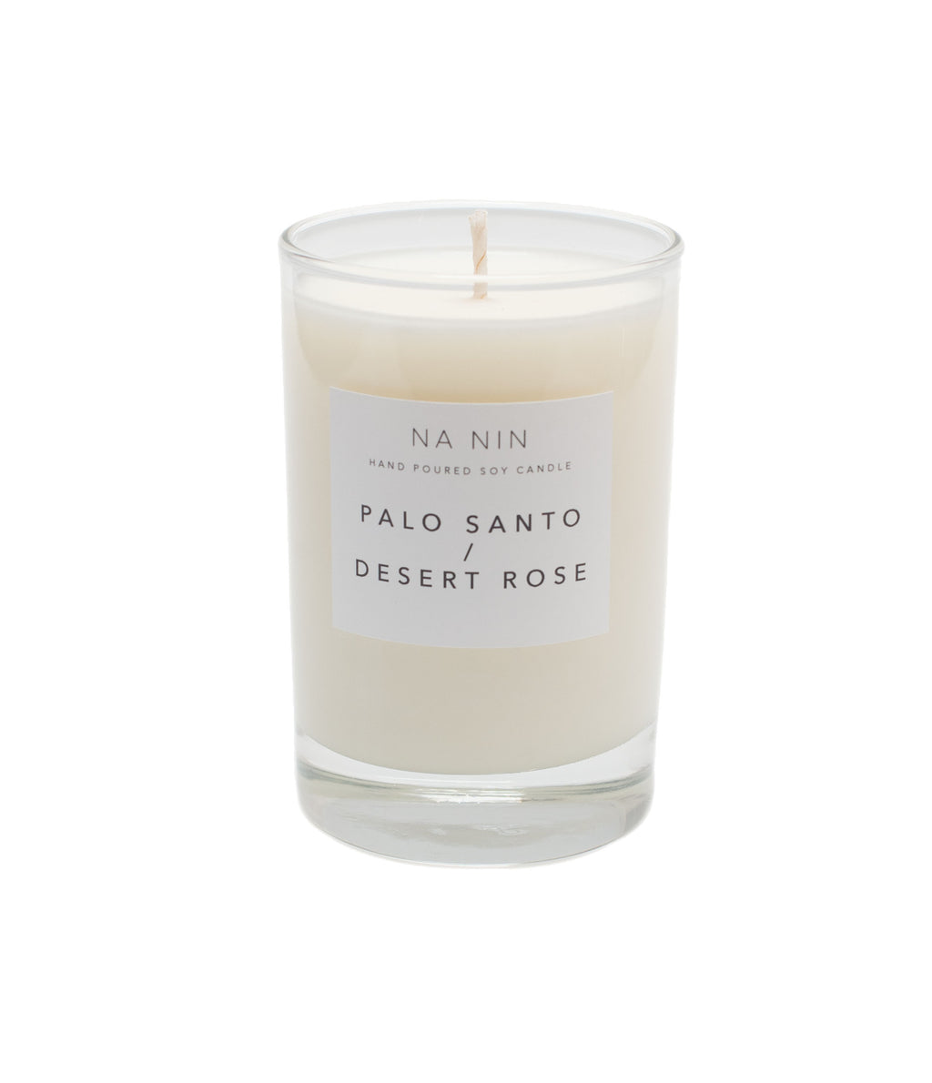Palo Santo + Desert Rose 5oz Hand Poured Soy Candle by Na-Nin