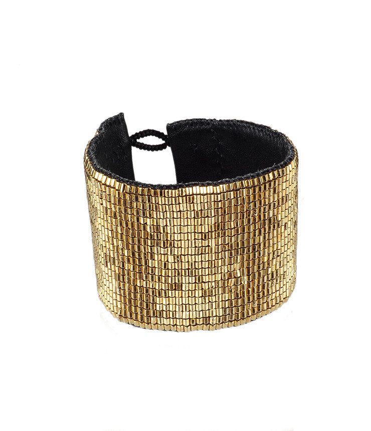 Giant Mesh Gold Loomed Cuff
