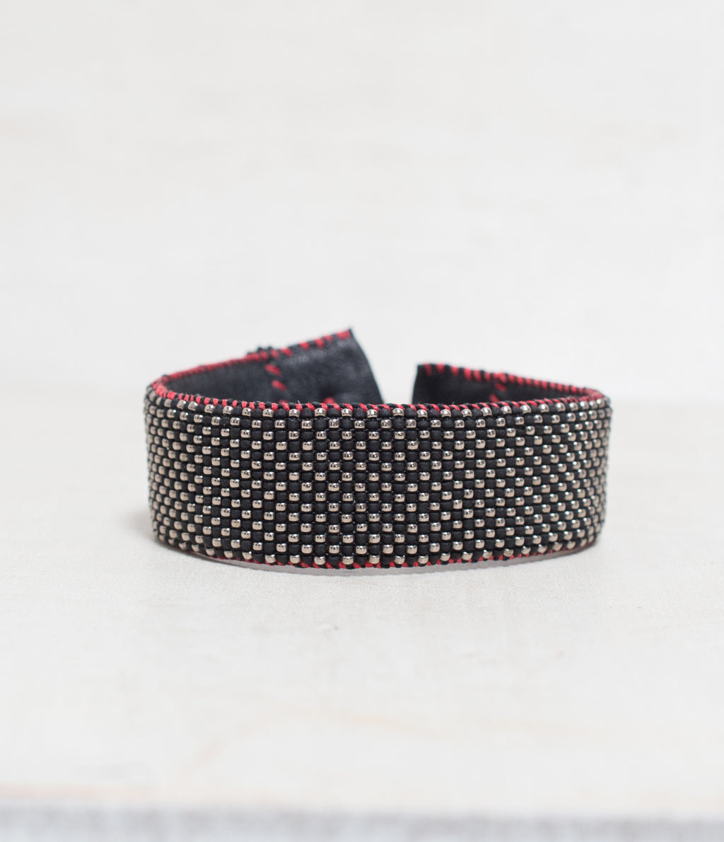 Checker Black/Red/Silver Loomed Cuff