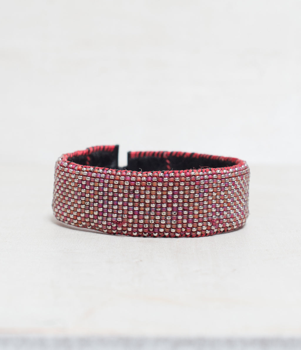 Checker Plum/Silver Loomed Cuff