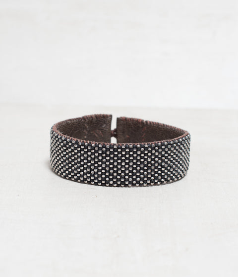 Checker Black/Silver Loomed Cuff