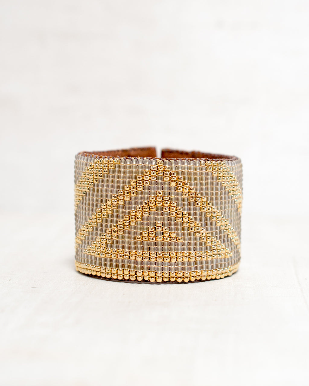 Triangle White/Gold Loomed Cuff
