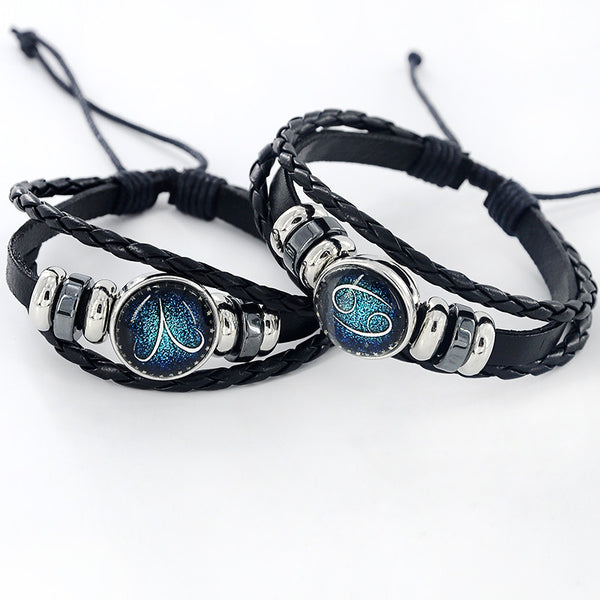 Zodiac Black Leather Bracelet