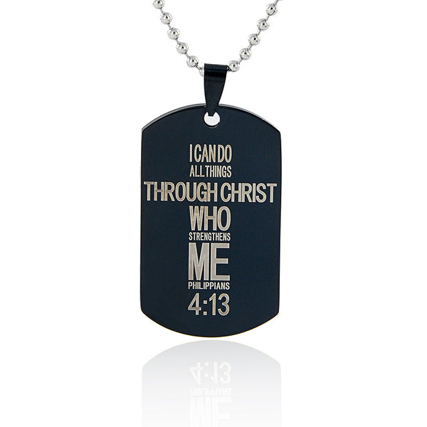 Bible Cross Dog Tag Stainless Steel Necklace