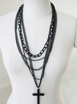 Cross Pendant Multilayer Chain Necklace