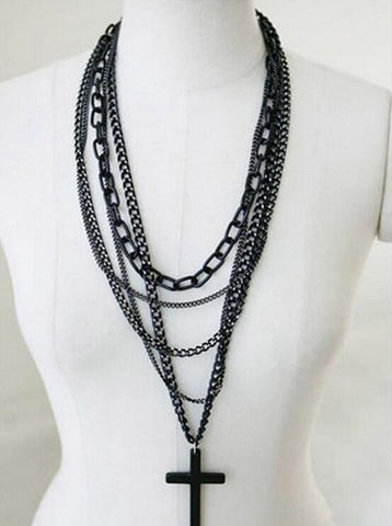 Cross Pendant Multilayer Chain Necklace Offer