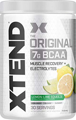 Scivation XTEND Original BCAA Powder Lemon Lime Squeeze | Sugar Free Post Workout Muscle Recovery Drink with Amino Acids | 7g BCAAs for Men & Women| 30 Servings