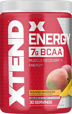 Scivation XTEND Energy BCAA Powder Mango | 125mg Caffeine + Sugar Free Pre Workout Muscle Recovery Drink with Amino Acids | 7g BCAAs for Men & Women | 30 Servings | Packaging May Vary