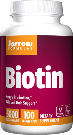 Jarrow Formulas Biotin, Energy Production, Skin and Hair Support, 5000mcg, 100 Veggie Caps