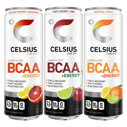 CELSIUS BCAA +Energy Sparkling Post-Workout Recovery & Hydration Drink, Variety Pack, 12oz. Slim Can, 12 Pack