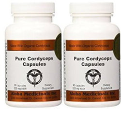 Certified Organic Cordyceps Synensis Supports Immunity 525mg 2 Bottles of 90Caps, Aloha Medicinals - Wholesome Dynamics