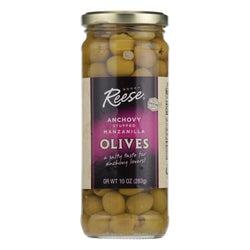 Reese's Olives, Manzanilla Stuffed With Minced Anchovy  - Case Of 12 - 10 Oz