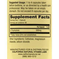 California Natural L-tryptophan - 500 Mg - 60 Capsules