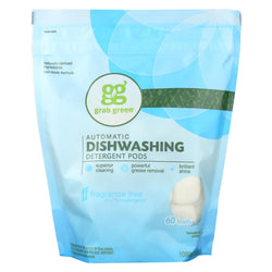 Grab Green Automatic Dishwasher - Fragrance Free - Case Of 4 - 60 Count
