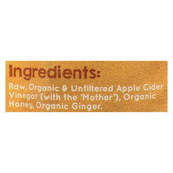 Vermont Village Ginger & Honey Apple Cider Vinegar Shot  - Case Of 12 - 1 Fz