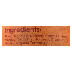 Vermont Village Vinegar Shot Apple Cider Vinegar, Turmeric & Honey - Case Of 12 - 1 Fz