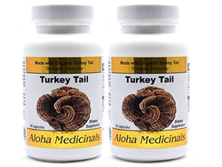 Organic Pure Turkey Tail (Trametes Versicolor) 500mg 2 Bottles of 90 Vegan Caps, Aloha Medicinals - Wholesome Dynamics